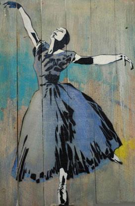 Art urbain, oeuvre de l'artiste Blek le rat : ballerina