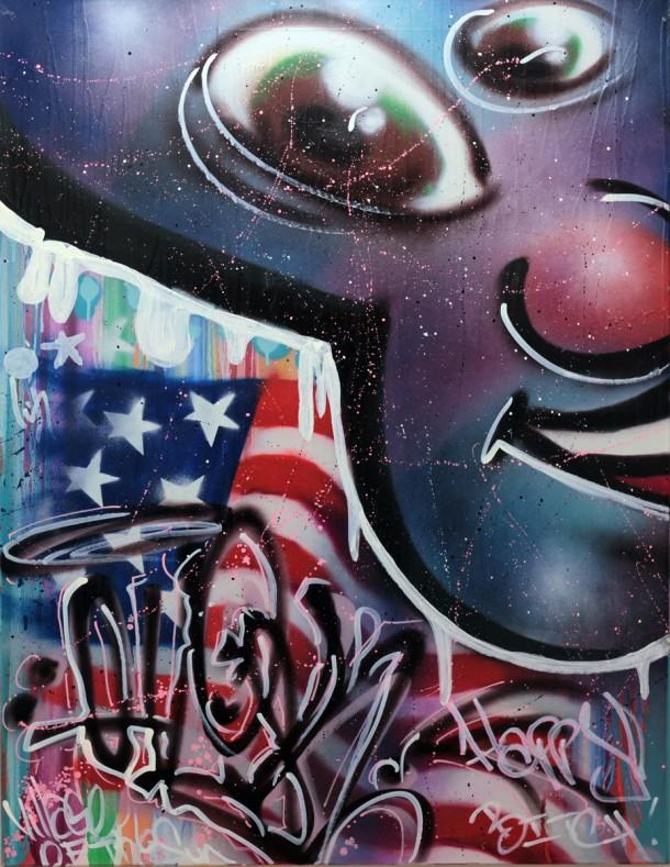 """QUIK """"Revolt"""" Acrylique & spray sur toile. Dimension : 85 X 110 cm. Date de création 2011 Cette oeuvre est disponible sur Strip Art www.stripart.com/fr/peintures/353-revolt.html"""
