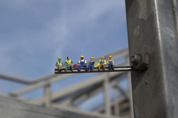 Street art Slinkachu Why is it so hard to find a job? - Construction Worker
