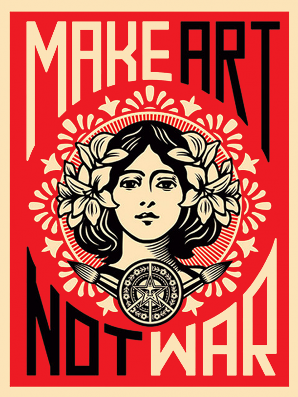 street art shepard fairey obey giant sur strip art le blog. Black Bedroom Furniture Sets. Home Design Ideas