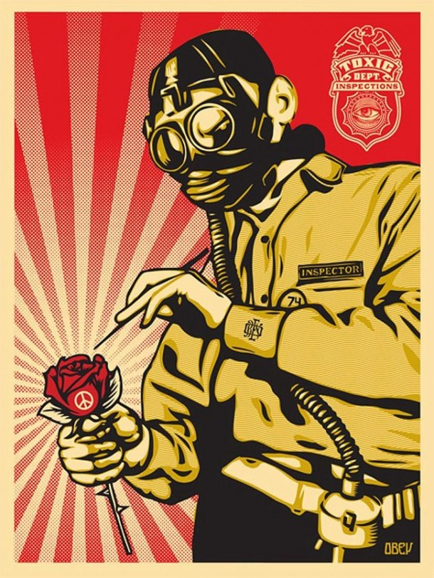 Street art OBEY Giant Peace Inspector