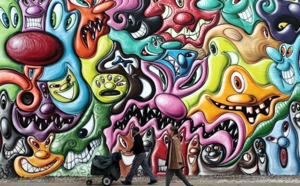 Street art Kenny Scharf Fresque