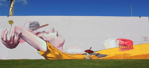 "ETAM CREW  Street-art Fresque murale ""Breakfast on Grass""  Miami Golf"