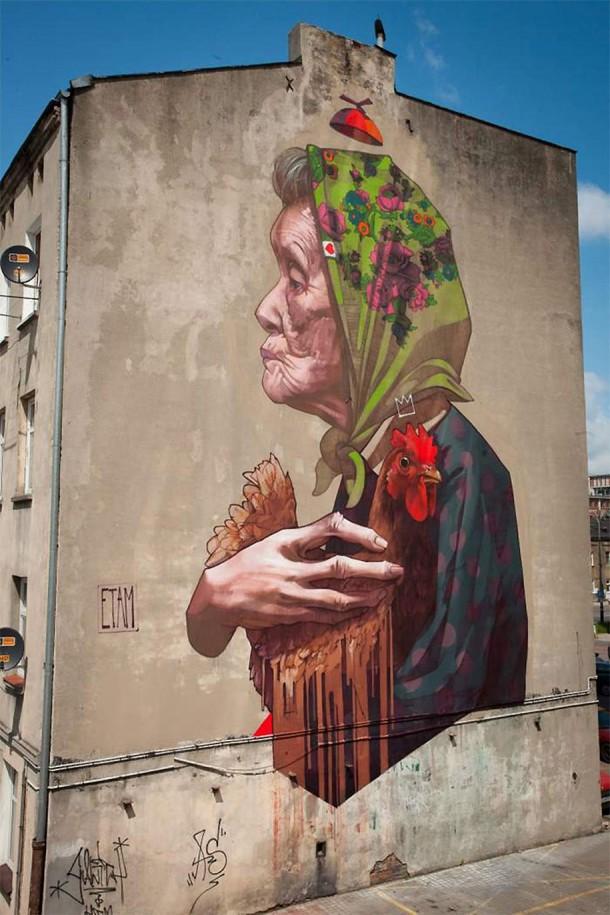 ETAM CREW  Street-art Fresque murale Madamme Chicken, Lodz, Pologne