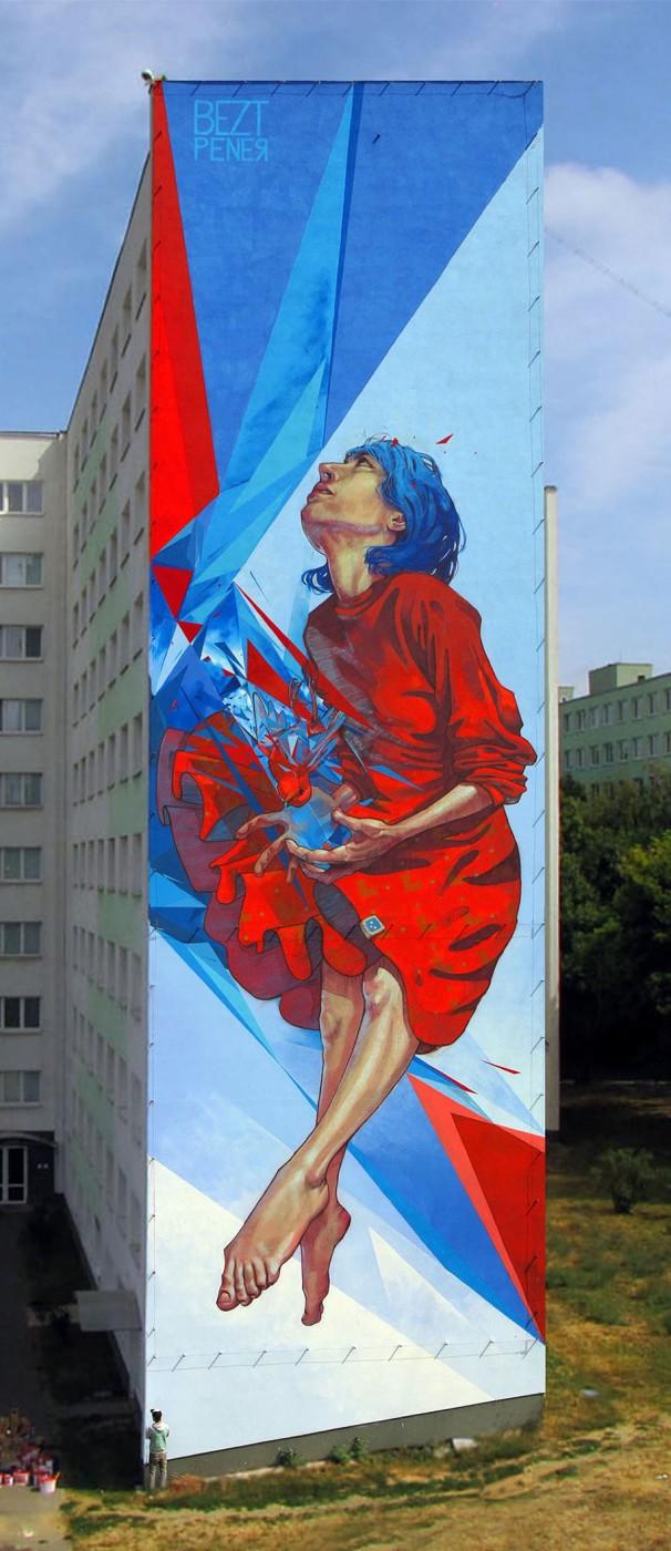 """ETAM CREW  Street-art Fresque murale """"The Healer"""" Kosice, Slovakia"""