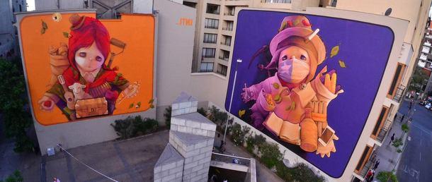 Street art Performance INTI à Santiago au Chili. 2013