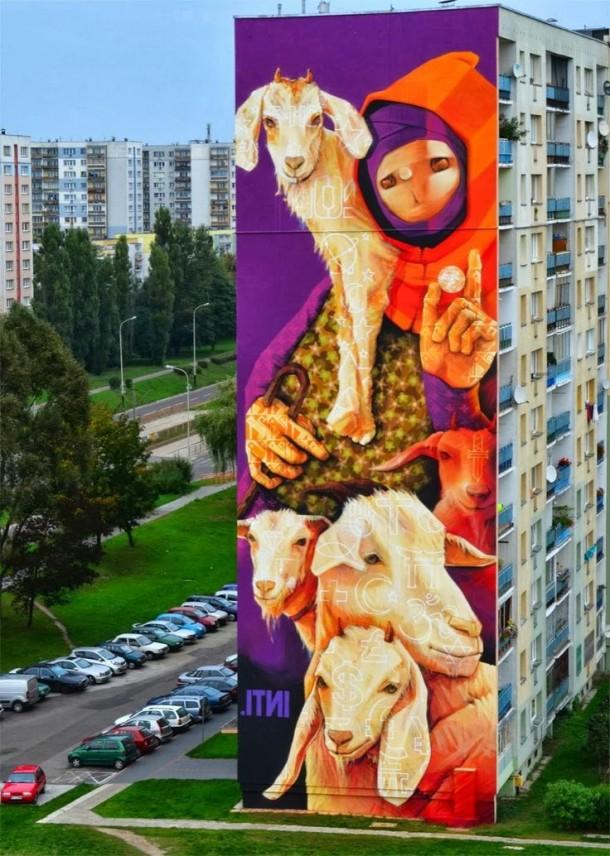 Street art INTI Immeuble Pologne