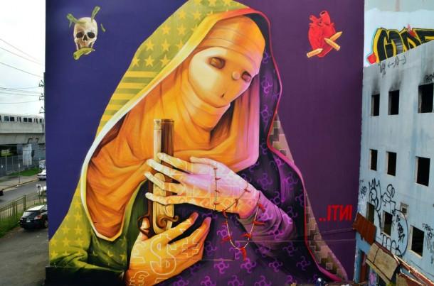 Street art INTI LA VIRGEN DE LA DISCORDIA à Puerto Rico en 2013