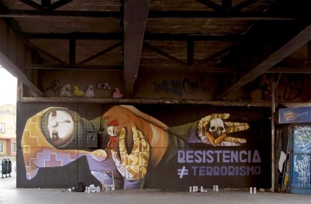 Street art INTI RESISTENCIA No es TERRORISMO Fresque au Chili