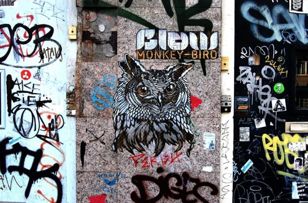 Monkey bird art urbain 2