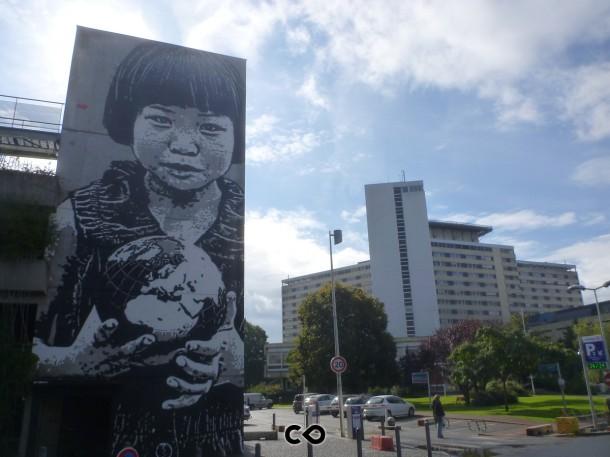 Fresque de jeff aérosole et en collaboration avec le MBC et d'autres artistes bordelais
