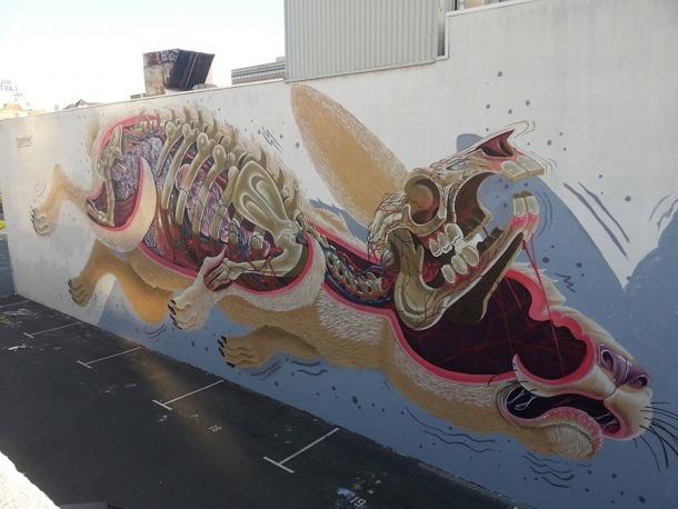 Fresque géante dans le centre d'Oakland