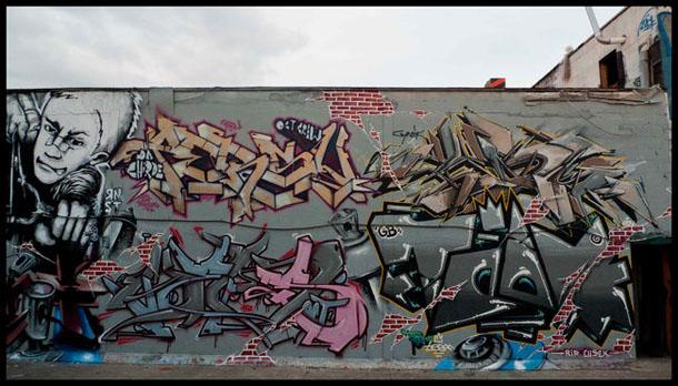 RNST Mur réalisé en partenariat avec d'autres artistes