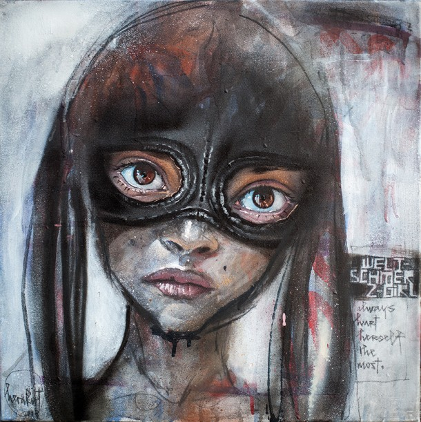 Aerosol, acrylic and charcoal on canvas, 51 x 51 cm