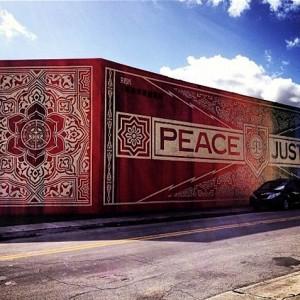 Obey street art mural - strip art