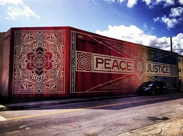 Obey street art mural - strip art