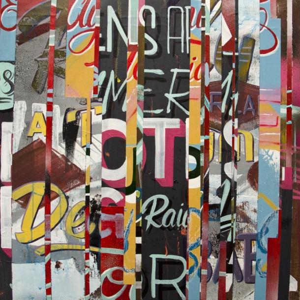 Domestic Violence - 65 X 65cm, Acrylique & Spray sur toile, 2014