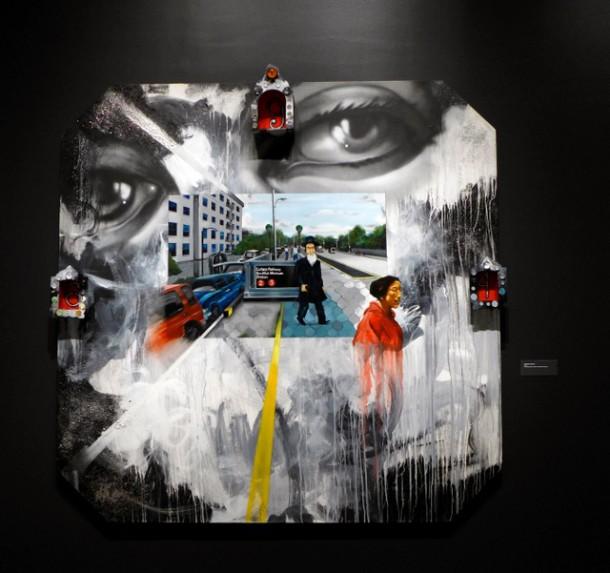Eastern Parkway - huile, peinture en aérosol, acrylique et bois sur toile. Museum of New York city, 2016 Eastern Parkway - huile, peinture en aérosol, acrylique et bois sur toile. Museum of New York city, 2016