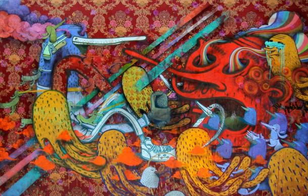 Alëxone - Cercle à paillettes, technique mixte sur tissu, 2011. Collection particulière